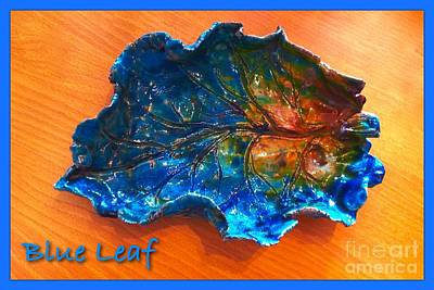 Ceramic Art - Blue Leaf Ceramic Design 3 by Joan-Violet Stretch