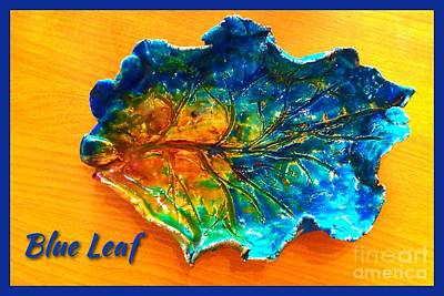 Ceramic Art - Blue Leaf Ceramic Design by Joan-Violet Stretch