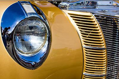 Digital Art - Blue Light On Gold Car by Georgianne Giese