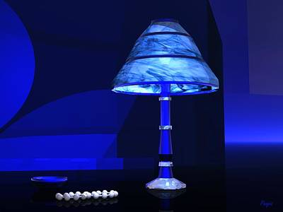 Digital Art - Blue Light - White Pearls by John Pangia
