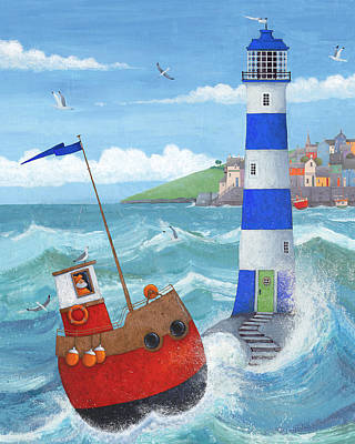 Blue Lighthouse Art Print