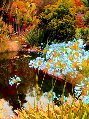 Blue Lily Water Garden Art Print