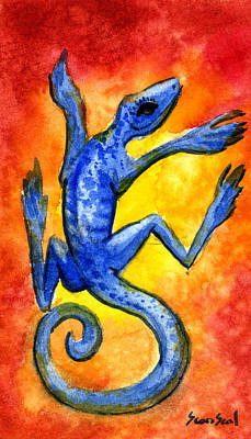 Print featuring the painting Blue Lizard by Sean Seal