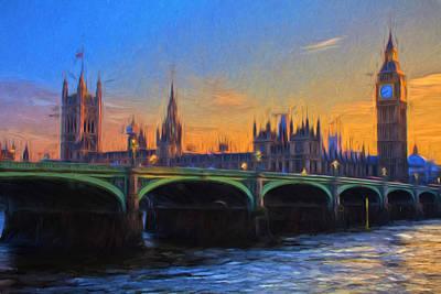 Art Print featuring the painting Blue London by Douglas MooreZart
