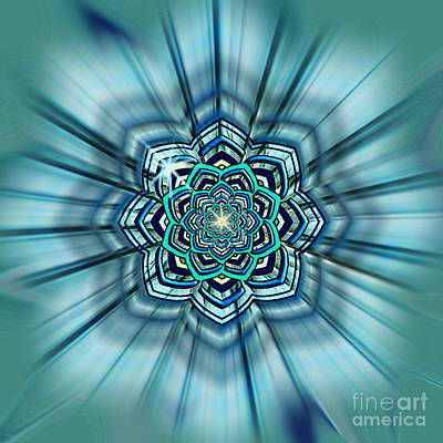 Digital Art - Blue Lotus Mandala by Deborah Smith