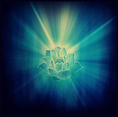 Painting - Blue Lotus Star Burst  by Alexandra Florschutz