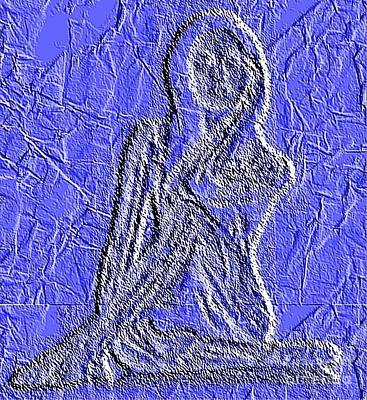 Mozaic Painting - Blue Madonna by PainterArtist FIN