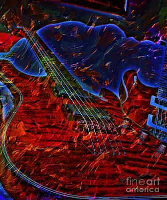 Blue Magic Digital Guitar Art By Steven Langston Art Print by Steven Lebron Langston