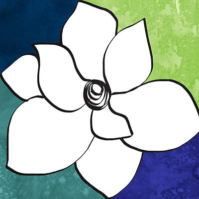 Florals Royalty-Free and Rights-Managed Images - Blue Magnolia 2- floral art by Linda Woods