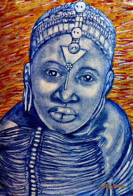 Afro American Art Drawing - Blue Maiden by Vernon Rowlette