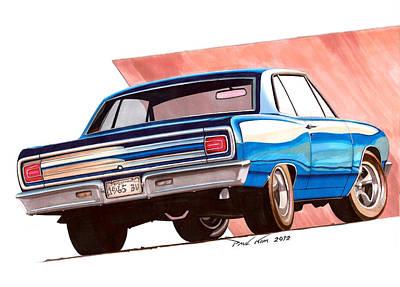 Super Cars Drawing - Blue Malibu by Paul Kim