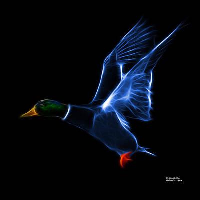 Mixed Media - Blue Mallard Pop Art - 7664 - Bb by James Ahn