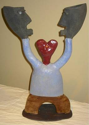 Sculpture - Blue Man - I Love Myself by Mario MJ Perron