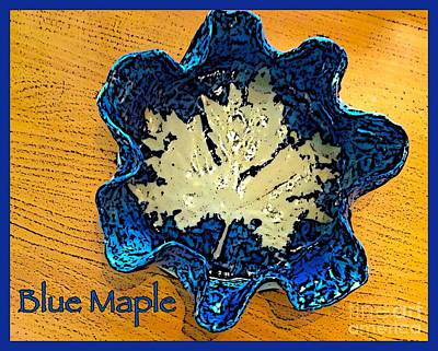 Ceramic Art - Blue Maple Leaf Dish 2 by Joan-Violet Stretch