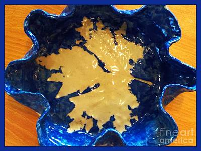 Ceramic Art - Blue Maple Leaf Dish by Joan-Violet Stretch