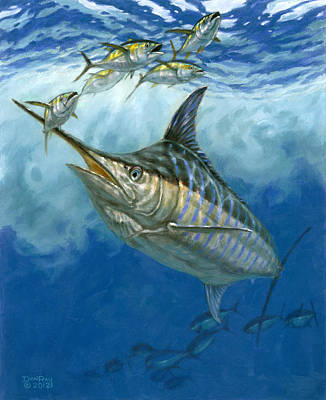 Salt Water Game Fish Painting - Blue Marlin And Yellowfin Tuna by Don  Ray