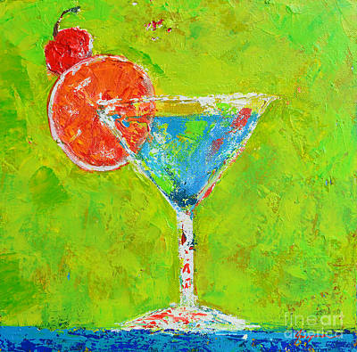 Martini Painting Rights Managed Images - Blue Martini - Cherry me up - Modern Art Royalty-Free Image by Patricia Awapara