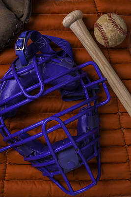 Bat Photograph - Blue Mask With Bat And Ball by Garry Gay