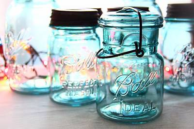 Photograph - Blue Mason Jars by Elizabeth Budd