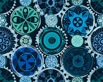 Blue Medallions  Art Print by Lisa Noneman