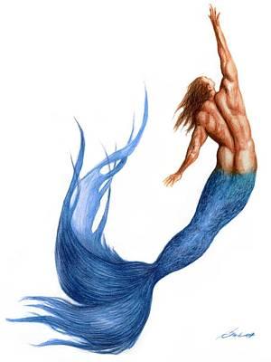 Fantasy Art Drawing - Blue Merman by Bruce Lennon