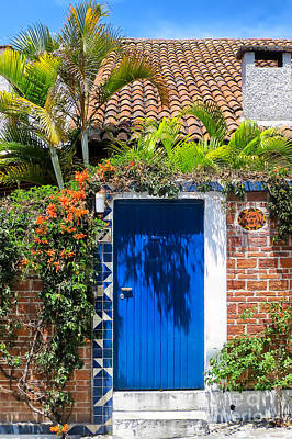 Photograph - Blue Mexican Door - Photograph By David Lawrence by David Perry Lawrence