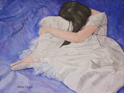 Satin Dress Painting - Blue by Mike Paget