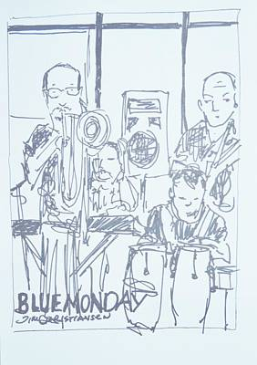 Valdes Drawing - Blue Monday Jam And Jamie Dubberly by James Christiansen