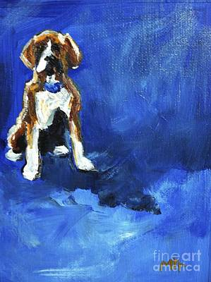 Boxer Dog Art Painting - Blue Monday by Maria's Watercolor