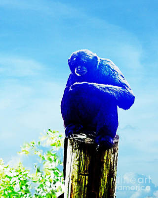 Digital Art - Blue Monkey by Lizi Beard-Ward