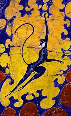Painting - Blue Monkey No. 13 - Detail No. 1 by Steve Bogdanoff