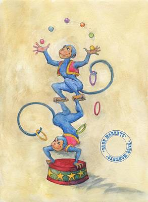 Art Print featuring the painting Blue Monkeys by Lora Serra