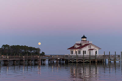Blue Moon At Roanoke Marshes Lighthouse Art Print