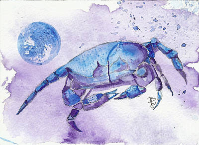 Blue Crab Mixed Media - Blue Moon Cancer by Bernadette Crotty