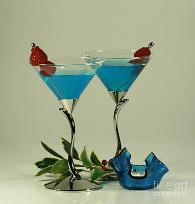 Blue Moon Curacao Cocktails For Two Art Print by Inspired Nature Photography Fine Art Photography