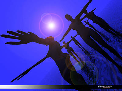 Art Print featuring the digital art Blue Moon Dancers by A Dx