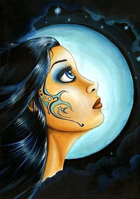 Blue Moon Goodess Art Print by Elaina  Wagner