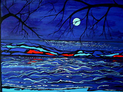 Waterscape Painting - Blue Moon by Kathy Peltomaa Lewis