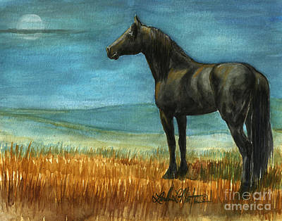 Mustang A Day Challenge Painting - Blue Moon by Linda L Martin