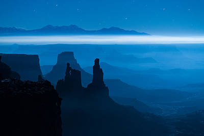 Moon Photograph - Blue Moon Mesa by Dustin  LeFevre