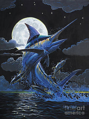Striped Marlin Painting - Blue Moon Off0069 by Carey Chen