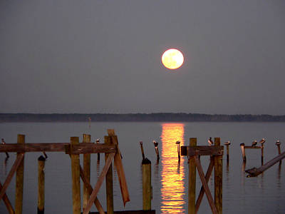 Blue Moon On The Bay On New Years Eve 2009 Art Print