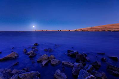 Blue Moon On The Rocks Art Print