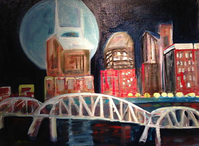 Night Sky With Moon Painting - Blue Moon Over Nashville by Wendi Strauch Mahoney