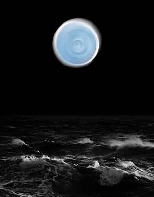 Blue Moon Over The Sea Art Print