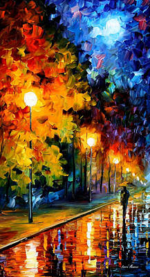 Mood Painting - Blue Moon - Palette Knife Modern Fine Art Landscape Oil Painting On Canvas By Leonid Afremov by Leonid Afremov