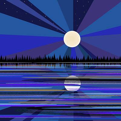 Digital Art - Blue Moon Rise by Val Arie