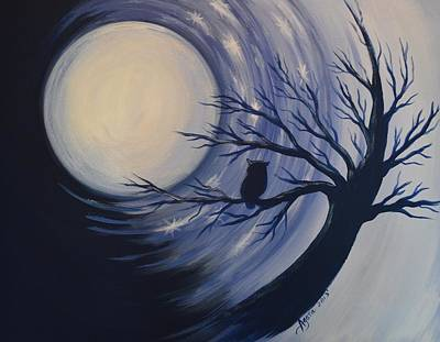Art Print featuring the painting Blue Moon Vortex With Owl by Agata Lindquist