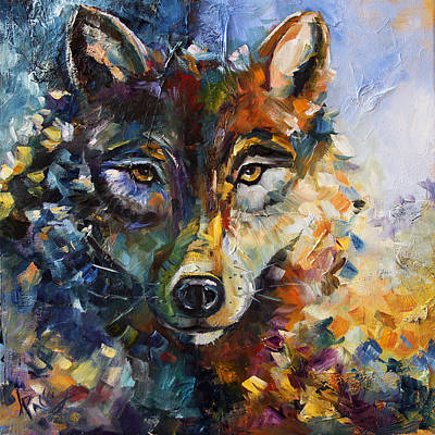 Pace Painting - Blue Moon Wolf by Laurie Pace