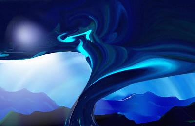 Digital Art - Blue Moonshine by rd Erickson